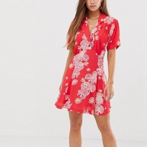 Free People • Red Hawaii Floral Print Mini Dress